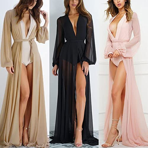 Women Summer Long Bikini Swimsuit See Through Beach Dress Sunscreen Blouse Cover Up