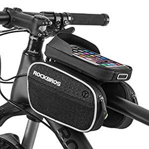 "RockBros Bicycle Handlebar Bag Cycling Frame Bag for 5.7"" 6.0"" Touch Screen Phone Black"