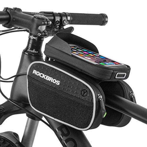 863063baf69 RockBros Bicycle Handlebar Bag Cycling Frame Bag for 5.7″ Touch Screen  Phone Black
