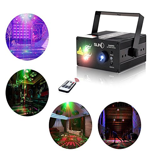 Mini Laser Stage (Laser Lights Led Projector,40 Patterns RG Laser DJ Stage Lighting,3 Sources Apertures Lens Red and Green Show With Blue Auto Sound Activated, Best For Disco/Wedding/Birthday/Family Party/ Clubs etc)