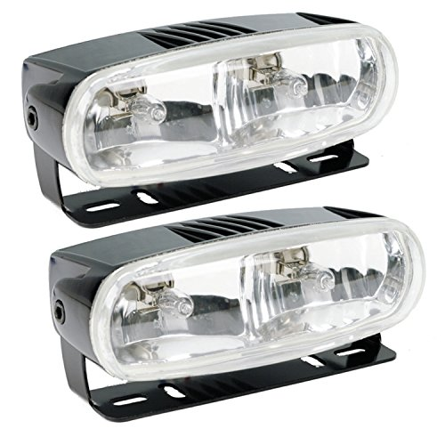(HELLA Optilux H71010321 Model 2020 12V Black Dual Beam Halogen Fog/Driving Lamp Kit)