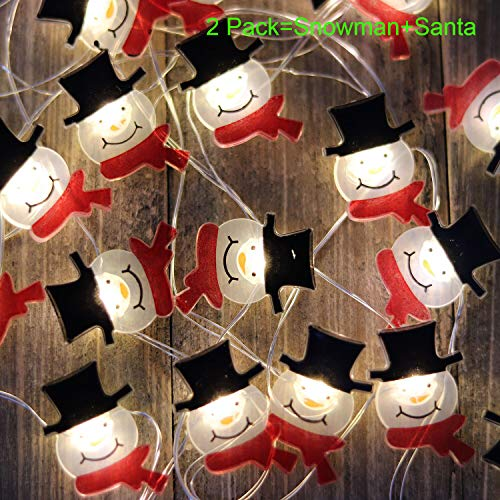 V Smart Life Christmas Decorative Lights Battery Operated String Lights Santa Claus and Snowman 2 Packs Timer Control for New Year Decoration,Holiday Season, Christmas Wreath Décor(SCSM)