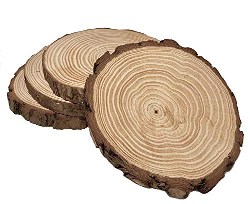 (Natural Pine Round Rustic Wood Slice Slab, Tree Bark, 4 Pack Sanded 6-7