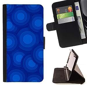 Momo Phone Case / Flip Funda de Cuero Case Cover - Círculos azules Patrón - Samsung Galaxy Note 5 5th N9200