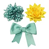 Bow & Arrow Pet Dog Collar Accessories, Two Dog Collar Flowers and One Bow, Slide On Attachment, Teal and Yellow