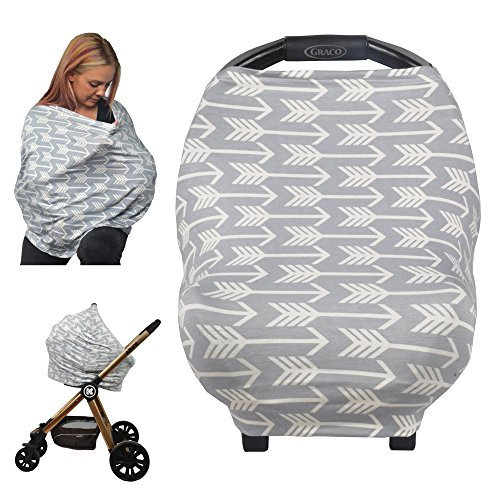 Nursing Cover, Car Seat Canopy, Shopping Cart, High Chair, Stroller and Car Seat Cover for Boys and Girls - Best Stretchy Infinity Scarf and Shawl - Multi Use Breastfeeding Cover Up - Arrow Pattern ()