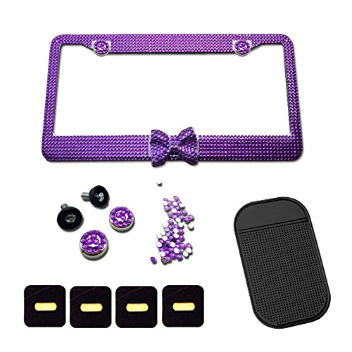 Purple Bling sparkly crystal Rhinestones License Plate Frame Stainless Steel Frame for Women 13 Row 2 Hole Bonus Crystal Screws and Gift Non-slip Mat