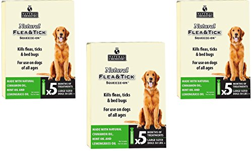 - (3 Packages) Natural Chemistry Flea & Tick Squeeze On for Large Dogs, 50 lb