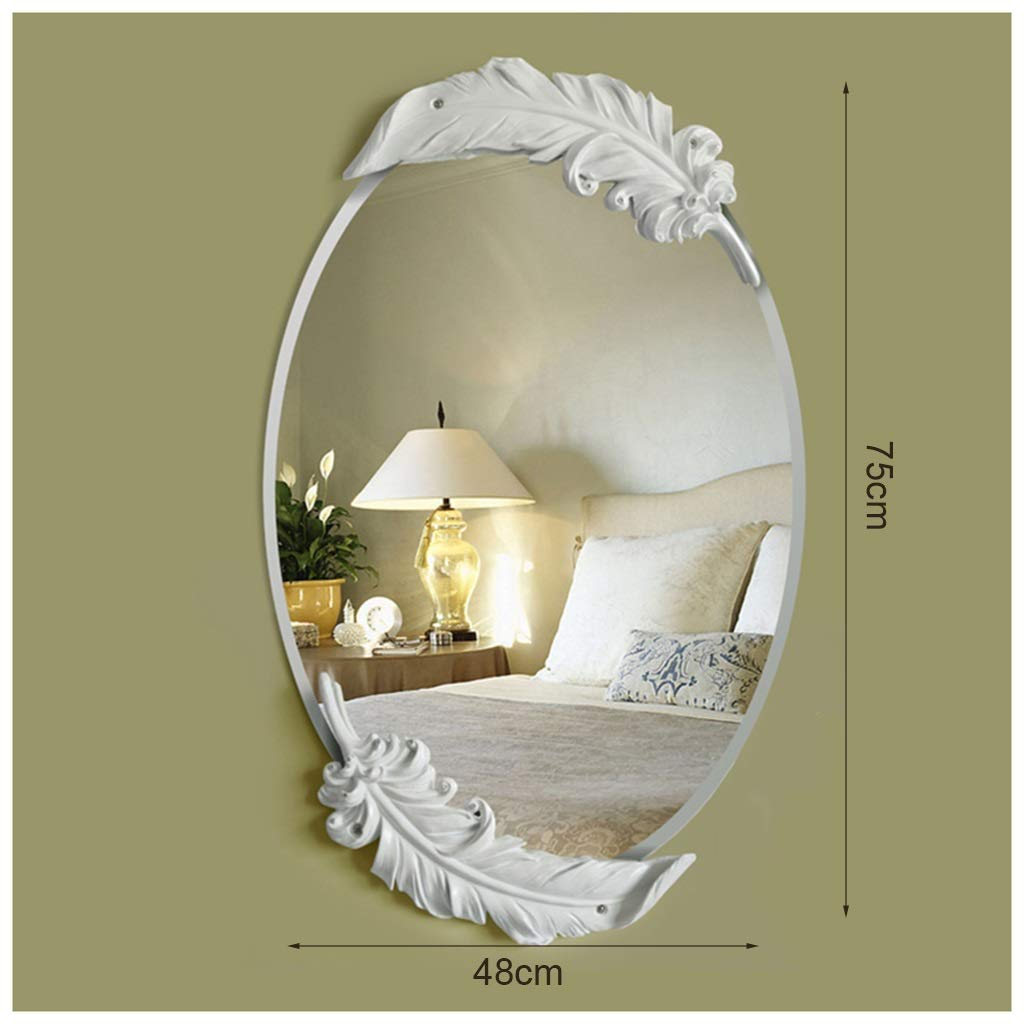 White 41cmX65cm YYF Frameless Elliptical Mirror European Feather Dressing Wall Hanging Bathroom Living Room 65cm41cm (26 inches  16 inches) (color   Champagne, Size   48cmX75cm)