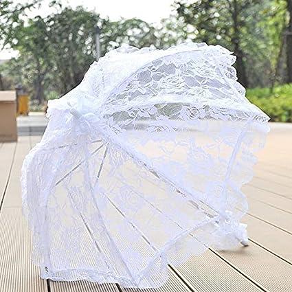 klinkamz - Paraguas de encaje para novia con encaje para decoración de fiestas, bodas,