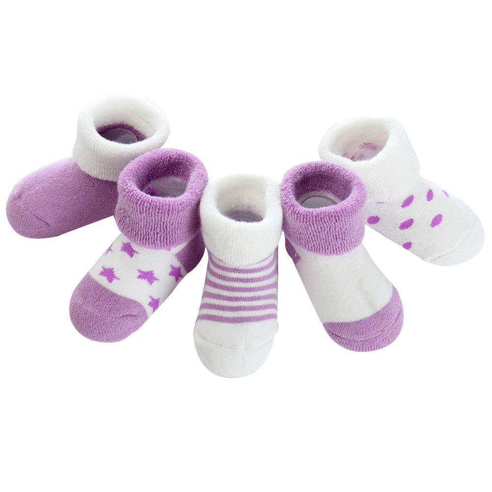 eroute66 5 Pairs Newborn Baby Boy Girl Winter Anti-slip Dots Stripe Star Warm Thick Socks Yellow M