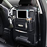 AutoEC Water-Repellent Pu Leather Car Seat Back Organizer and iPad mini Holder, Universal Use as Car Backseat Organizer for Kids, Kick Mat & Seat Back Protector, Great Travel Accessory (Black)