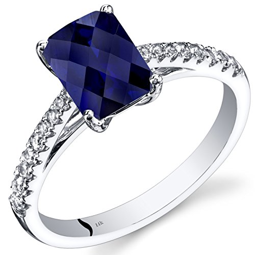 - 14K White Gold Created Sapphire Ring Radiant 2.00 Carats