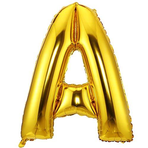 LOKIPA 40inch Jumbo Balloon Letter of A Gold Foil Mylar Balloons for Birthday Anniversary Party Celebration