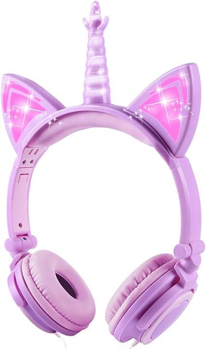 Auriculares Unicorn para niños, Orejeras con Orejas de Gato Que Brillan intensamente con LED, Auriculares con Cable para niños de 85dB Volume Limited