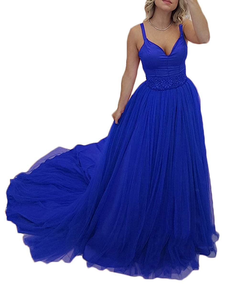 Royal bluee alilith.Z Sexy Spaghetti Strap Prom Dresses 2019 Long Beaded Appliques Formal Evening Dress Party Gowns for Women Tulle Train