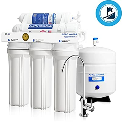 APEC Top Tier Supreme Certified High Flow 90 GPD Ultra Safe Built in USA Reverse Osmosis Drinking Water Filter System (ULTIMATE RO-90)