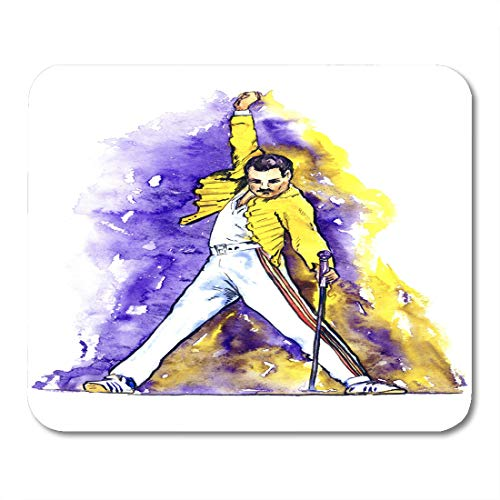Semtomn Mouse Pad Freddie Mercury Dancing Microphone on Stage in Yellow Jacket Mousepad 9.8