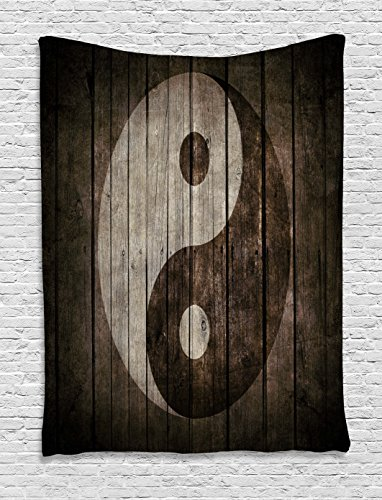 Ambesonne Ying Yang Decor Collection, Rustic Wood with Ying Yang Sign Art Grunge Design Zen Peace Balance Yoga Nature Theme, Bedroom Living Room Dorm Wall Hanging Tapestry, 40 X 60 Inches, Beige Brown by Ambesonne (Image #1)