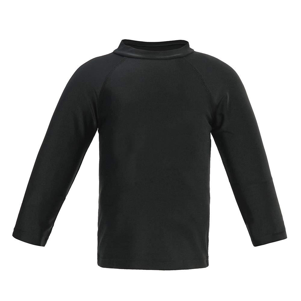 Boys' Long Sleeve Rashguard Swimwear Rash Guard Athletic Tops Swim Shirt UPF 50+ Sun Protection, Black 10