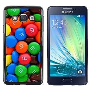 Be Good Phone Accessory // Dura Cáscara cubierta Protectora Caso Carcasa Funda de Protección para Samsung Galaxy A3 SM-A300 // candy chocolate blue red sweets