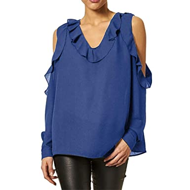 14effef6fa9a31 NEEKY Damen Herbst Casual Chiffon Off Shoulder Tops Frauen Freizeit Solide Langarm  T Shirt Rüsche V-Neck Bluse: Amazon.de: Bekleidung