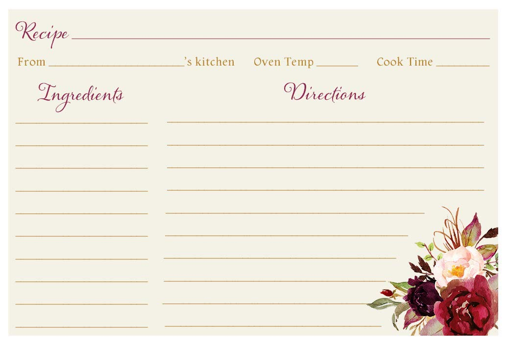 Recipe Cards, Floral, Burgundy Blooms Bridal, Ivory, Burgundy, Painted, Watercolor, Floral, Botanical, Flowers, Recipe Exchange, Bridal Shower, Wedding, 24 Packof Double Sided Printed Recipe Cards by The Invite Lady