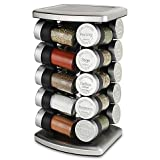 Olde Thompson 20 Jar Embossed Revolving Spice Rack,Stainless steel | 7.5 L x 7.5 W x 13 H | Holds up to 20 spices