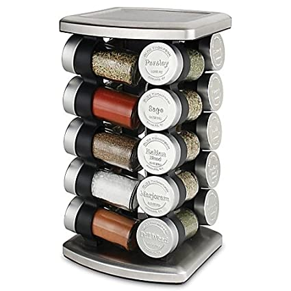 Olde Thompson 20 Jar Embossed Revolving Spice Rack,Stainless Steel |  7.5u0026quot; L X