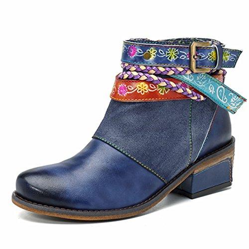 Heel Booties Dark Buckle Ankle Socofy Blue Zipper Strap Boots Block Side Leather Handmade Splicing Shoes Women's vwqOwBnp