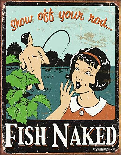 Desperate Enterprises Schonberg - Fish Naked Tin Sign, 12.5
