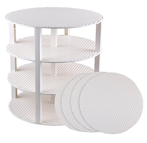 Strictly Briks Classic Stackable 12 Circle Baseplate Brik Tower Building Brick Set   100% Compatible with All Major Brands   4 Base Plates & 30 Stackers   White