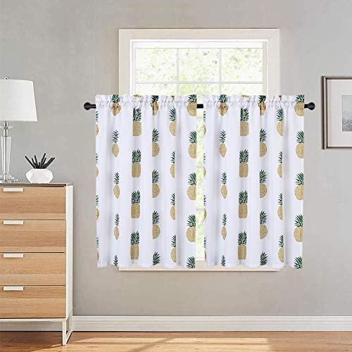 Haperlare Tier Curtains, Pineapple Printed Rod Pocket Short Curtains for Bathroom, Multicolor Tropic Fruit Design Window Covering Kitchen Cafe Curtains, 30