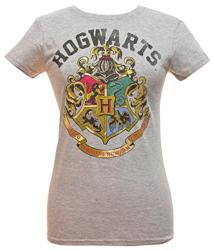 Harry Potter Girls' Distressed Hogwarts School Crest Logo T-Shirt (Medium) (Alumni Clothing)