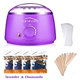 Wax Warmer Hair Removal Kit, Famirosa Waxing Heater with Hard Wax Beans, 10 Wax Applicator Sticks and 10 wax Strips for Women Men Body Face Eyebrow