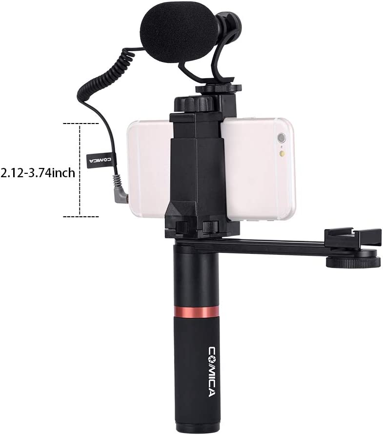 CoMica CVM-VM10-K4 Video Microphone Phone Holder Ordinary Handle Grip Connecting Rod Compatible with iPhone Samsung Huawei 54-95mm Width Smartphones for Mini Video Light with Cold Shoe