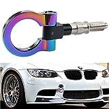 Dewhel JDM Aluminum Track Racing Front Rear Bumper Car Accessories Auto Trailer Ring Eye Towing Tow Hook Kit Screw On For BMW 1 3 5 Series X5 X6 E36 E39 E46 E82 E90 E91 E92 E93 E70 E71 MINI Cooper (Neo Chrome)