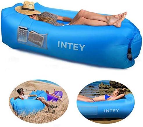 INTEY Sofá inflable, sofá de aire impermeable, sofá con el cojín creativo Air Sofa con bolsa de transporte para playa, piscina, viajes, vacaciones y camping