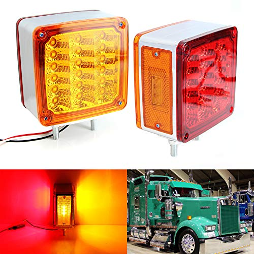 iJDMTOY (2) Square Double-Faced LED Pedestal Truck and Trailer Lights (Powered by 39pcs LED Lights For Turn Signal, Side Markers & Brake Tail Lights) (Signal Montana Turn)