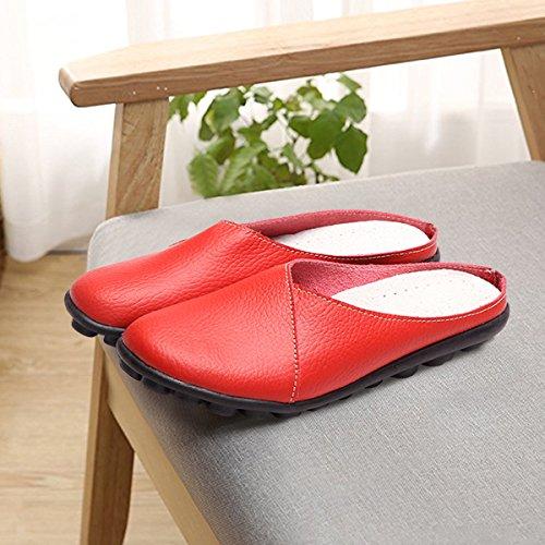 Marron Cuir Jardin Gracosy Blanc Chaussures Plate Voir Homme Pantoufles Mules Maison Femme Noir Chaussons Rouge grille En Poiture À Slippers Printemps De Chaudes Talon Hiver xUAqY
