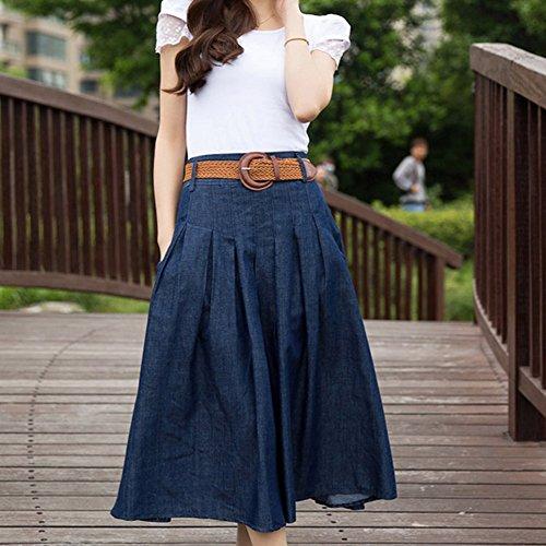 Bleu fonc WLM Jupe Marche Grande Demi Occasionnels Robe Longueur Fille Taille en Bleu Jupe Jupe de fonc Lache Jean Femmes Denim Shopping Jeune rqB6rw1