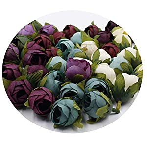 Miao Express 10pcs / Batch 2cm Wedding Party Home Decoration Wreath DIY Scrapbooking Crafts Small Artificial Tea Rose Bud Silk Flower Head 37