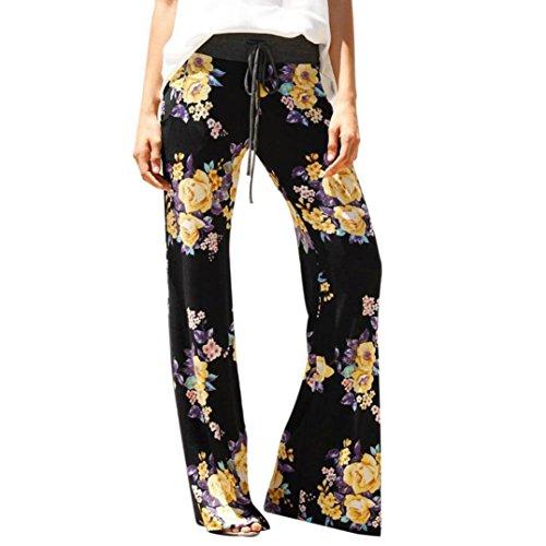 Shybuy Hot Sale Womem's Floral Prints Drawstring Pants Leggings Palazzo Wide Leg Lounge Pants (XL, Black) ()