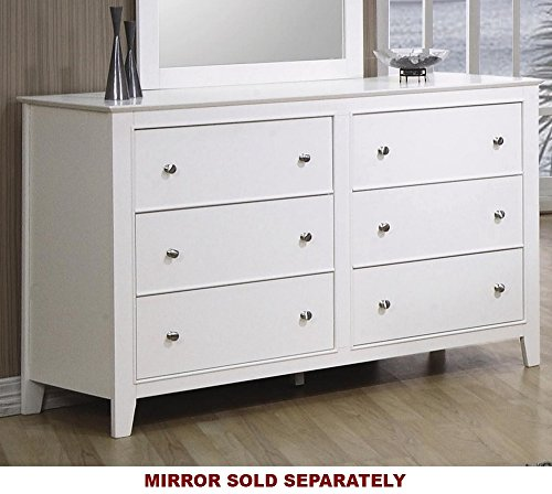 Coaster Home Furnishings Selena 6-Drawer Dresser White - Set includes: One (1) dresser Materials: Asian hardwood and MDF Finish Color: White - dressers-bedroom-furniture, bedroom-furniture, bedroom - 51o0U9T13%2BL -