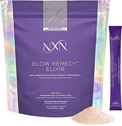 NxN Beauty Immune Support Elixir & Skin Care Supplement with Essential Vitamins & Minerals: C, B3, B5, B6, B12, Chromium, Ashwagandha, NAD, (30 Packets, 10g Each)