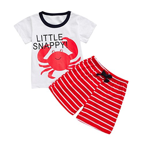 Toddler Kids Baby Summer Cartoon Tops T-Shirt Striped Shorts Set Outfits Clothes (18-24 Months, Red) (Belted Charmeuse Top)