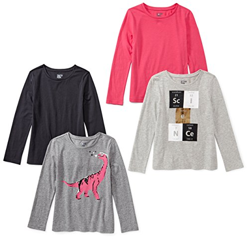 Spotted Zebra Big Girls' 4-Pack Long Sleeve T-Shirt, Science, L