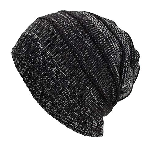 NRUTUP Knit Hats for Men, Thick & Warm Beanie in Cable and Ribbed Knit Styles.(Black,Free Size) ()