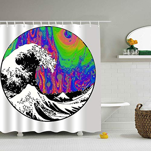 PQFLICS 3D Animal Tumbling Waves Polyester Waterproof Shower Curtain-Bathroom Accessories ()