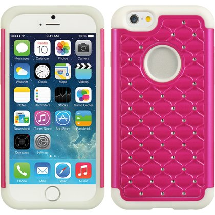 Pink White Rhinestone (iPhone 6s / iPhone 6 Case, Apple iPhone 6 Case Heavy Duty Shock Absorbing Hybrid Studded Crystal Rhinestone Bling Dual Layer Protection Cover for Apple iPhone 6s (4.7in) (Hot Pink / White))